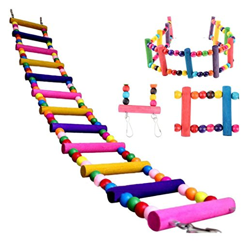Oiseaux Jouet Perchoir Perroquet Oiseau pont tournant en bois Ladder Grimpez Calopsitte perruche perruche Jouets pour animaux (M-56cm, multicolore)