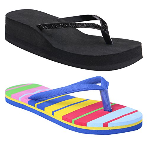 HD Casual Rubber Flip-Flop Slippers For Women (Set Of 2) (Multicolor, IND-9/Eu-39)