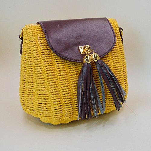 AiSi Damen Mädchen modern Quaste Stroh gestrickte Strandtasche Damenhandtasche Handtasche Umhängetasche Schultertasche ideal für Urlaub am Strand Beige Hellbraun gelb