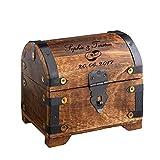 Casa Vivente – Geld-Schatztruhe zur Hochzeit mit Gravur – Ringe – Personalisiert mit [Namen] und [Datum] – Schmuckkästchen aus dunklem Holz – Verpackung für Geldgeschenke - Hochzeitsgeschenke