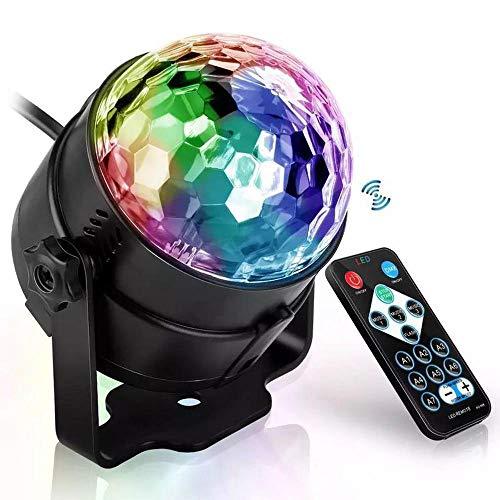 AIYL Discokugel Rotierenden Ball Bühnenbeleuchtung Sound Aktiviert 3W RGB LED Kristall Magic Disco Licht Für Zu Hause Im Freien Urlaub Dance Parties Geburtstag Black -