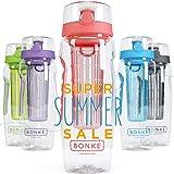 Bonke Trinkflasche für Fruchtschorlen - Große 1 Liter BPA-Freie Sportflasche – Wasserflasche mit Gummigriff und Extra sicherem Verschlusssystem – 1 Jahr Garantie (Tangerine)