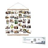 AIEVE Cadres Photo Collages,Cadre Photo Mural avec Porte-photo en Corde avec 30 Petites Pinces Beau Cadeau de Décoration pour Mariage,Couple,Anniversaire,Bricolage
