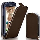 moex Samsung Galaxy S3 Mini | Hülle Dunkel-Braun 360° Klapp-Hülle Etui thin Handytasche Dünn Handyhülle für Samsung Galaxy S3 Mini S III Case Flip Cover Schutzhülle Kunst-Leder Tasche