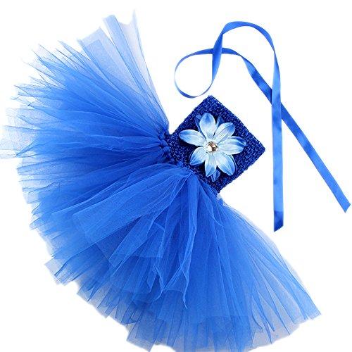 Honeystore Mädchen Spitze Prinzessin Rock Sommer Blumen Kleider für Baby Kleinkinder Kinder 0-2 Jahre alt Small Blau mit Lilie (Essen Halloween Kostüm Diy)