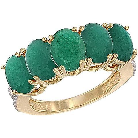 14ct oro amarillo esmeralda Natural 1 ct. 7 x 5 mm Oval 5-piedra anillo de madre con detalles en diamante, Tamaños J a T con medias