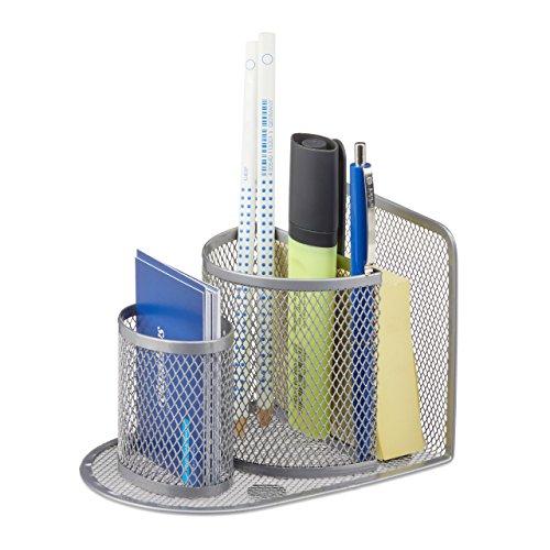 Relaxdays 10022486_55 portapenne da scrivania con 2 bicchieri, metallo, design mesh, hxlxp: 10,5x10x14,5 cm, argento
