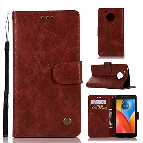 Motorola Moto E4 Plus (American Version) Wallet Case, Motorola Moto E4 Plus (American Version) Leather Case, Casefirst Premium PU Leather Cell Phone Cases Folio Stand Bumper Back Cover for Motorola Moto E4 Plus (American Version) - Wine Red Motorola Soft Leather Carry Case