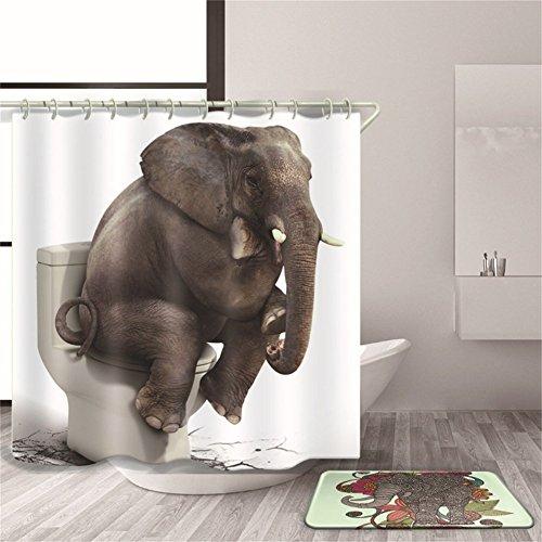QEES Duschvorhang mit Bildern von Hund Katze Wolf Haustier Künstlerische Bilder Wasserdichter Duschvorhang aus Stoff Anti-Schimmel Textilien Wasserabweisend YLB02 (Denkender Elefant-M)