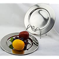 Set of 6 Stainless Steel Charger Plates 30.5cm. High Polished Thick and Heavy Quality