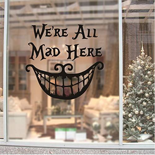 een Weihnachten Dekor Wand Aufkleber Abziehbilder Wir Sind Alle Hier Wütend Vinyl Zitate Aufkleber Lustiges Lächeln Gesicht Großen Mund Dekor ()