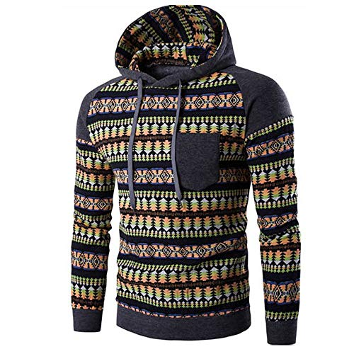 Kanpola Herren Kapuzenpullover Herbst Winter Urlaub Druck Langarm Hoodie Sweatshirt Pullover (Dunkelgrau, 48)
