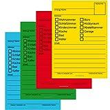 80x Umzugetiketten, 4 Farben, Aufkleber Beschriftung mit Etiketten vom Umzugskarton für den Überblick beim Umzug