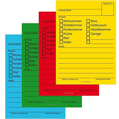 80x Umzugetiketten, 4 Farben, Beschriftung mit Etiketten vom Umzugskarton für den Überblick beim Umzug thumbnail