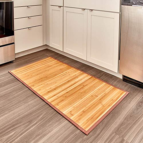 iDesign Formbu rutschfeste Fußmatte, wasserabweisende Bambusmatte, großer Läufer aus Bambus für Bad, Küche und Flur, hellbraun