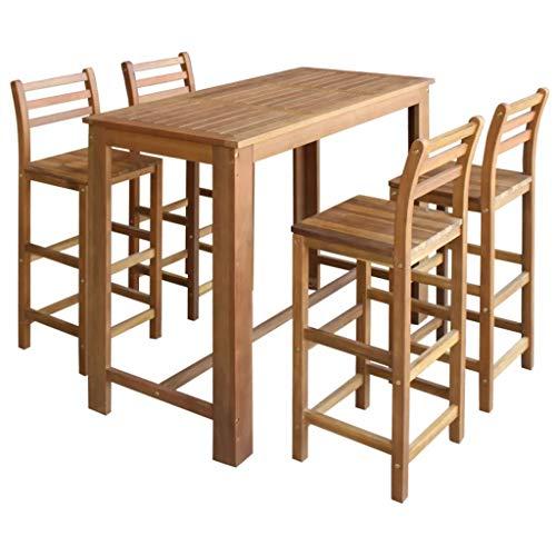 vidaXL Bartisch Barstuhl 5-TLG. Akazienholz Tresentisch Stehtisch Barhocker - Holz Bar Tisch