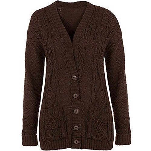 GRANDE TAILLE FEMMES NEUF TORSADE GROSSE MAILLE BOUTON TRICOT GRAND-PÈRE CARDIGANS UK8-22 Marron