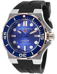 Swiss Legend Men's Abyssos 46mm Black Silicone Band Steel Case S. Sapphire Crystal Automatic Quartz Watch 10062A-SR-03