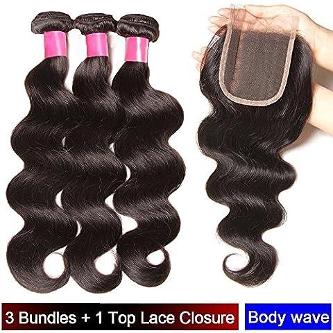 My-Lady® Tissage Bresilien en Lot - Extensions Capillaires de Cheveux Humains Naturels Vierges Ondulé Body Wave Noir Naturel - 3 Tissages + 1 Top Lace Closure (10
