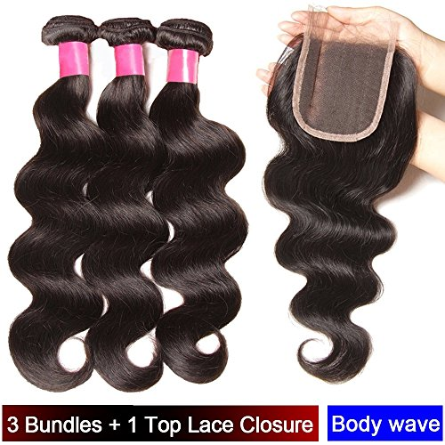 My-Lady® Tissage Bresilien en Lot - Extensions Capillaires de Cheveux Humains Naturels Vierges Ondulé Body Wave Noir Naturel - 3 Tissages + 1 Top Lace Closure (10\