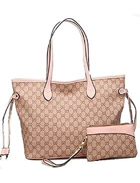Getthatbag® Damen Boston Monogramm Print Umhängetasche Shopper Handtasche - Grau Braun/Grau Rosa/Beige Pink/Beige...