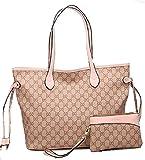 GetThatBag® Boston Monograma Bolsa de hombro bolso Shopper - Grey Brown / Grey Pink / Beige Pink / Beige Brown / Brown Checkerboard / Brown Stars / Black Stars / Beige Damier (Beige Pink)
