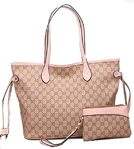 Getthatbag® Damen Boston Monogramm Print Umhängetasche Shopper Handtasche - Grau Braun/Grau Rosa/Beige Pink/Beige Braun/Braun Schachbrett/braun Sterne/schwarz Sterne (Beige Pink)
