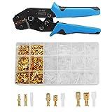 ELECTRAPICK Crimpzange Flachsteckhülsen Flachstecker Set Crimpwerkzeug mit 300 stück Kabelstecker 0,5-1,5 mm²