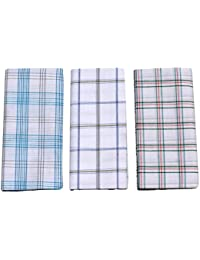 Mandhania Men's 100% Cotton Lungi Assorted Color and Checks Pack of 3 (2 Mtr.)