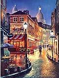 YEESAM ART Neuheiten Malen nach Zahlen Erwachsene Kinder, Romantisch Französisch Straße & Nachtsicht 40x50 cm Leinen Segeltuch, DIY ölgemälde Weihnachten Geschenke