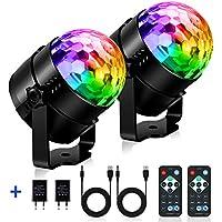 Discokugel LED, SOLMORE Party Lampe 2 Stück mit Fernbedienung Musikgesteuert RGB 11 Modi Disco Lichteffekte für Dekoration Party Bar Club Disco Karneval, mit Netzteil, USB-Kabel