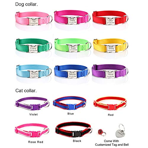 Bangoo Maßgeschneiderte Sicherheit Halsband mit Edelstahl Schnalle Weicher Verstellbarer Nylon Halsbänder für Haustier Hunde -