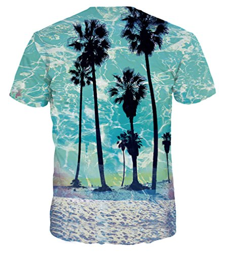 Pretty321 Men Women Universe Galaxy Stars & Nature 3D Slim Fit T-shirt Collection Palm Trees on Blue Beach