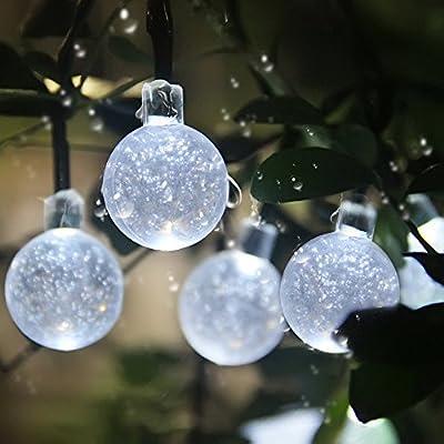 InnooTech 30er LED Solar Globe Garten Lichterkette Außen Kristall 6 Meter, Solar Kugel Beleuchtung für Party, Outdoor, Fest Deko usw.
