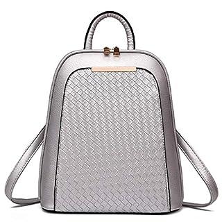 Milkate Women Backpack Quality PU Leather Bags Rucksack Mochila Mujer BV61X Sliver