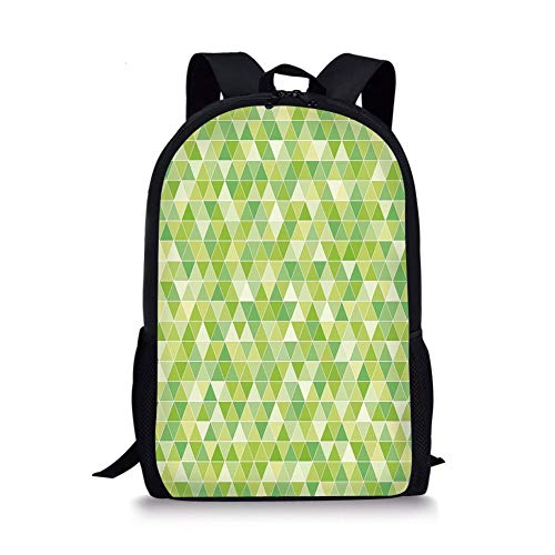 School Bags Lime Green,Triangles Geometry Figures Modern Digital Pyramids Soft Icons Graphic Decorative,Pale and Fern Green for Boys&Girls Mens Sport Daypack -