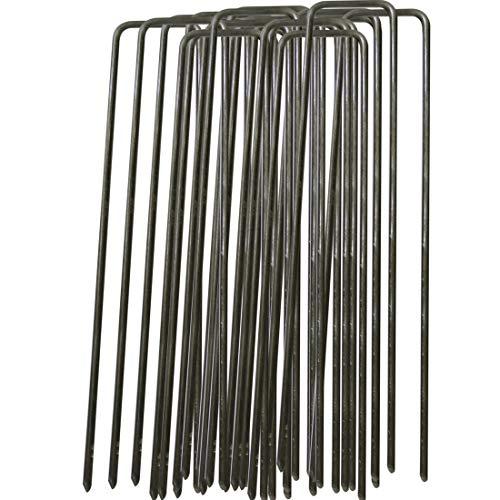 GIOVARA 100 piquets de Fixation de Jardin en Acier Polyvalents pour Fixer Le Tissu de Mauvaises Herbes de - 150 mm de Long, 25 mm de Large, Ø2,9 mm