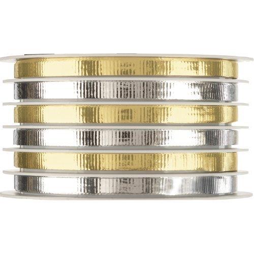 jillson-roberts-multi-channel-metallic-curling-ribbon-narrow-silver-gold-6-count-cm695-by-jillson-ro