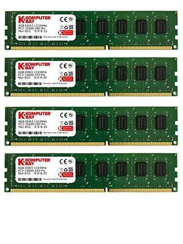 Komputerbay 32GB (4X8GB) PC3-10600 10666 1333MHz SDRAM DIMM 240-PIN RAM Desktop-Speicher Dual Channel KIT 9-9-9-25 (Ddr3 1333 Desktop Speicher)