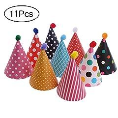 Idea Regalo - NUOLUX Torta compleanno partito cono Cappelli con pon pon, 11pcs