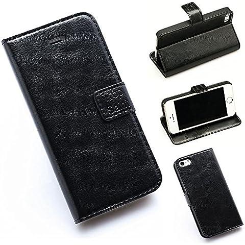Trop Saint® Funda Piel Cuero Billetera Negra para el iPhone SE/5 /5S - Soporte Cartera Libro