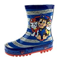 Boys Paw Patrol Rubber Wellington Boots Stripes Blue