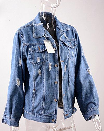 Minetom Donna Ragazze Primavera Autunno Rose Ricamo Denim Giacca Capispalla Outerwear Giubbino Manica Lunga Corto Jeans Jacket AC-Blu Scuro