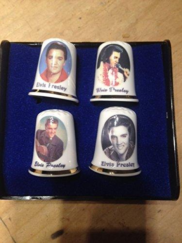 Finsbury China Fingerhut-Set, für Sammler, aus Porzellan, Motiv Elvis Presley, 4Stück