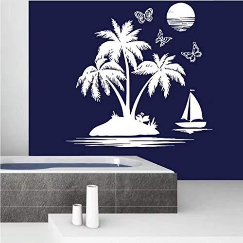 Wandaufkleber Badezimmer Wand Kerze Meer Strand Abnehmbare Palm Tree Sunset Tapete Nautische Thema Dekoration 75X74 cm