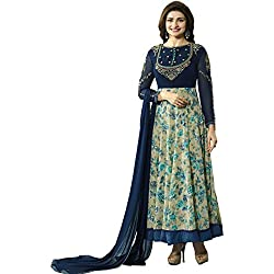 AnK Women's Blue Printed Embroidered Anarkali Semi Stitched Salwar Suit with Plain Dupatta