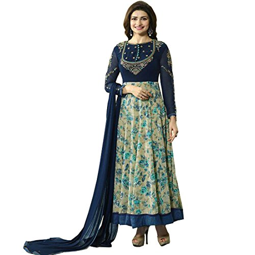 AnK Women\'s Blue Printed Embroidered Anarkali Semi Stitched Salwar Suit with Plain Dupatta