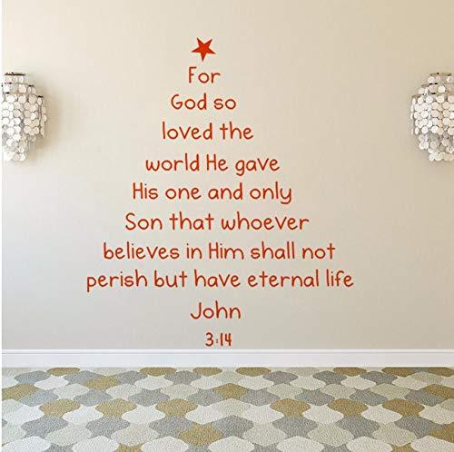 Fushoulu 57X66 Cm Bibel Vers Weihnachtsbaum Wandtattoo Removable Bible Vers Wandkunst Aufkleber Home Decaoration Weihnachten Fenster Wandbilder Kunst A