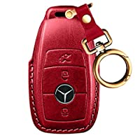 Intermerge for Mercedes Benz Key Fob Cover, Full Protection Soft Leather Key Fob Case Compatible with Mercedes Benz Keyless Remote Control Key Chain E Class 2017,S Class 2018 Smart Keychain -Red