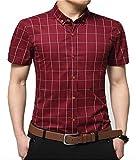 AIYINO Herren Kurzarm Hemd Slim Fit Baumwolle Casual Shirts 4 Farben zur Auswahl XS-XL (X-Large, G-Weinrot)